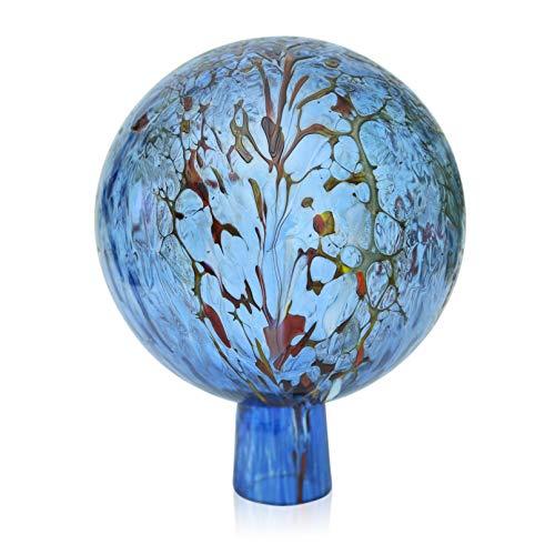 Lauschaer - Sfera da giardino in vetro con granulato acquamarina, diametro 12 cm, in vetro soffiato a mano, forma a mano