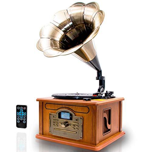 Lauson CL147 Giradischi Vinile Vintage Grammafono Con la funzione di codifica Bluetooth. FM Giradischi in Vinile a 3 Velocità (33/45/78 RPM) | Lettore CD / MP3 / USB SD (Grammofono)