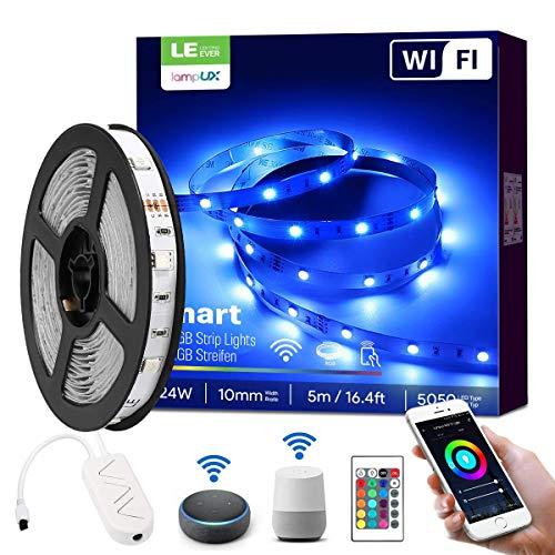 LE Alexa Striscia LED WiFi, Strisce LED 5M, 16 Millioni Colori RGB, Barra LED Intelligente con Telecomando e Controller, Smart Banda Luminosa Compatibile con Alexa/Google Home [solo 2,4 GHz]