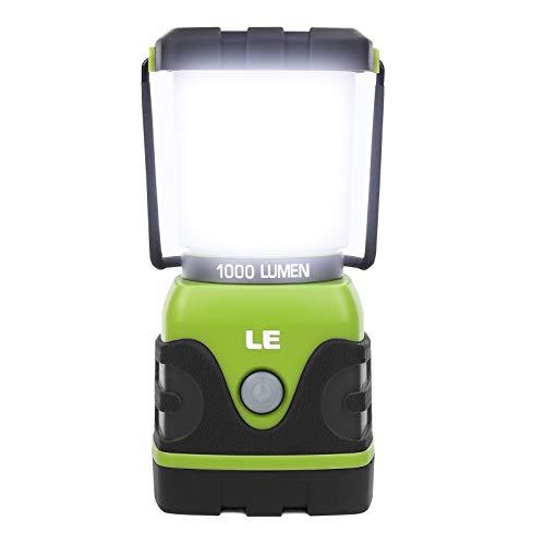 LE Lanterna da Campeggio LED 1000lumen Impermeabile, 4 Modalità di Illuminazione, Lampade da Campeggio per Emergenza Escursione Pesca Trekking ecc.