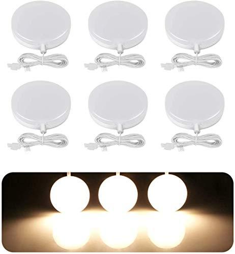 LE Luce Armadio 9 LED 2835, 2W Pari a Luce Alogena 20W, Lampada da Armadio 1020 lumen Bianco Caldo, Luce Notturna per Sottopensile e Armadio, Inclusi Alimentatore e Cavi, Confezione da 6 Pezzi