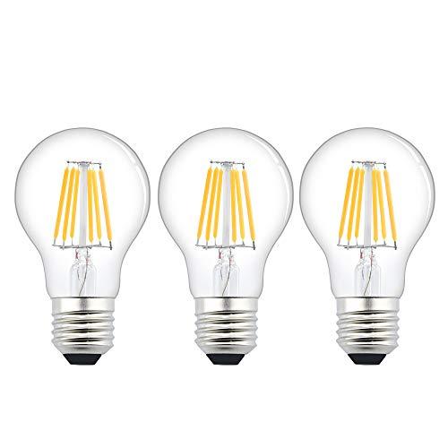 LED A60 Lampadine E27 6W Bassa Tensione AC/DC 12V-24V Bianco Freddo 6000K 600lm LED Lampada a LED Filamento ES Edison Vintage Incandescenza 60W Equivalente, CRI 80+ per RV Camper Marine (pezzi da 3)