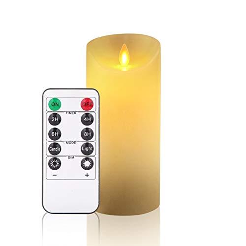 LED candele,candele senza fiamma nel Set di 1 (15 cm, Je Ø 8 cm).REALISTICO tremolante LED di fiamme.10 tasti del telecomando con funzione timer di 24 ore.(avorio,250 ore)