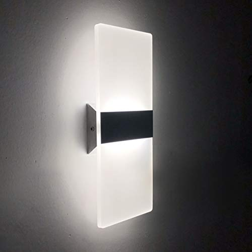 LED Lampada da Parete Interno 12W Bianco Freddo, Moderno Applique da Parete Interni, Lampada a Muro in Acrilico Perfetto per Soggiorno Corridoio Bagno Le Scale Luce Notturna