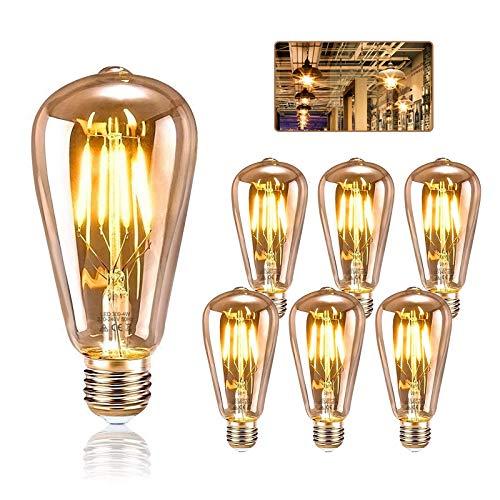 LED Lampadina Edison E27, KIPIDA Lampadina retrò 4W Illuminazione vintage ST64 Ideale per illuminazione retrò in casa Bar caffetteria Sala musica Ristorante Decorazioni di nozze, Ambra calda, 6 pezzi