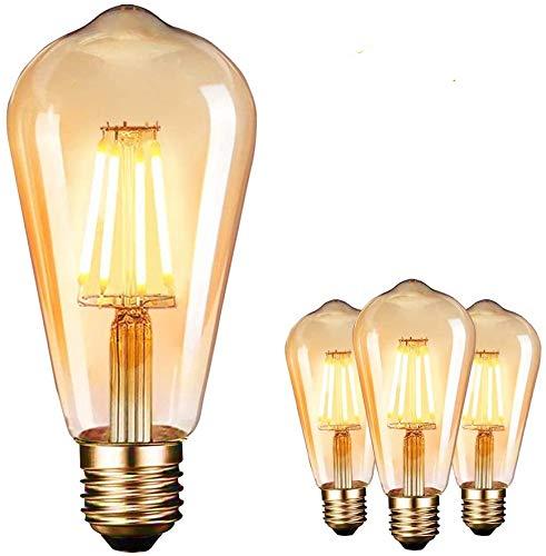 LED Lampadina Vintage Edison 4W E27 2700K Edison lampadina Vintage Retro Stile Lampadine Decorativo luce filamento della lampadina (3 pezzi) [Classe di efficienza energetica A]