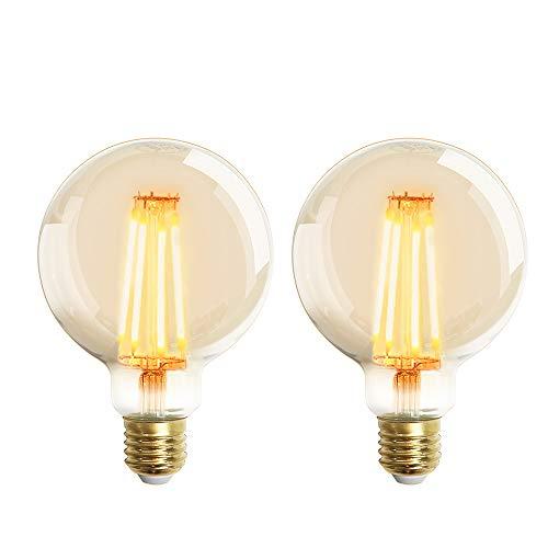 LED Lampadina Vintage Edison, G95 6W E27 bianco caldo 2200K Edison lampadina Vintage Retro Stile Lampadine Decorativo luce filamento della lampadina (2pezzi)