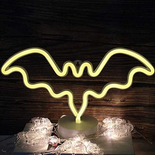 LED luce al neon Carino Insegne al neon Pipistrello Forma USB/Batteria di Neon Night Light con Base luminoso tavolo luminoso neon decorazione per Halloween Natale Party