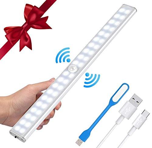 LED Luce per Armadio USB Lampada Armadio 40 LED Luce Notte Luce Armadio LED con Sensore Movimento,USB Ricaricabile Luce Armadio,LED Closet Light, per Armadio,Scale,Corridoi,Cucina