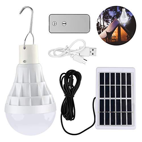 LED Luce solare lampadina, TechKen Solari Portatile USB Ricaricabile Lampade, 5 Livelli Dimmerabile, per Esterna di Emergenza Tenda da Giardino Tenda da Campeggio Illuminazione da Campeggio