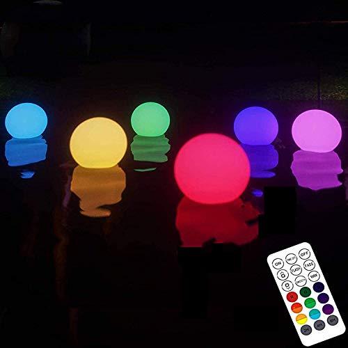 LED Luci Giardino Esterno,6 Pezzi IP68 Lampada per Piscina Galleggiante Impermeabile per Casa 16 Luci a Sfera a LED Che Cambiano Colore per Piscina, Stagno, Giardino, Festa