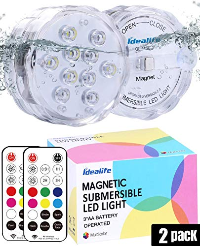 LED Luci Piscina, 3.3'' 10 LEDs Sommergibile Luce Subacquea WRGB Multicolore Luci Vasca da Bagno Luci LED a Batteria con Telecomando Calamita Ventose Luci Impermeabili per Piscine Fuori Terra Laghetto