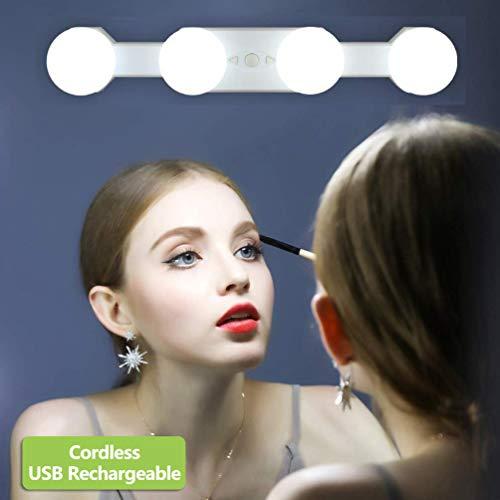 LED Luci Specchio Trucco, Luci a Specchio di Hollywood Ricaricabile Cordless, 4 Lampadine LED può Luminosità Colore Essere Regolabile, Makeup Vanity Mirror Light per Bagno Tavolo (Nessun Specchio)