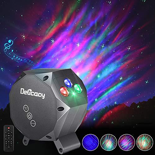 LED Multicolore Aurora Proiettore Luce, Delicacy Stelle Dinamico Proiettore Luci Notturne, Musica Luci Rilassante Umore Lampada, per Bambini Adulti Sala da Teatro Regalo Casa Decorazione