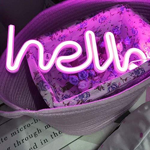 LED Neon lettere luci Ciao forma insegne al neon Parola luce arte Decorazioni da parete per la luce di notte Lampada luminosa parole per Baby Room, Hotel, festa nuziale al coperto (Ciao rosa)