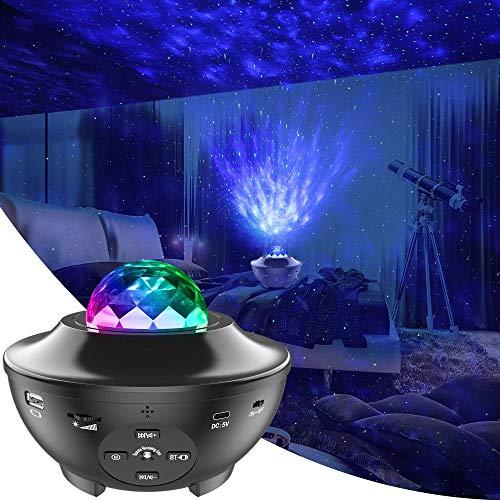 LED Proiettore Cielo Stellato Lampada con Telecomando Starry Stella Luna/onda d' Acqua Effetto Onda/Altoparlante Bluetooth Perfetto per Feste di Natale Pasqua Halloween