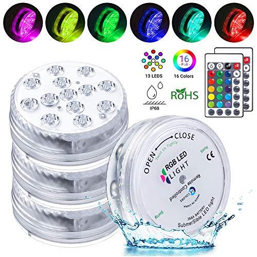 LED Sommergibili Luci Piscina, 4 Pezzi Luci a LED Sommergibili Impermeabile, 13 LEDs Luci per Laghetto con Telecomando per Vasi/Acquario, Stagno/Piscina/Feste/Fish Tank Decorazione