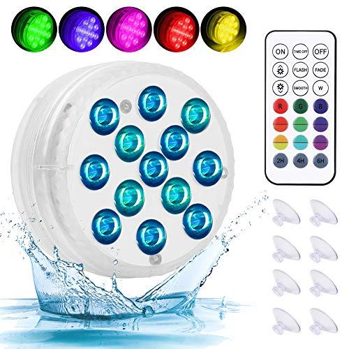 LED Sommergibili Luci Piscina, 4 Pezzi Luci a LED Sommergibili Impermeabile, Luci per Laghetto con Telecomando, 13 Perline Lampada 16 Colori per Partito/Piscina/Giardino/Acquario/Fish Tank Decorazione