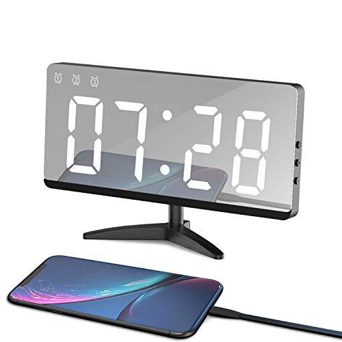 LED Sveglia Digitale a Specchio Sveglia Elettronica Sveglia Moderna con Funzione Sveglia e Porte USB, Memoria Automática, Modalità Loop Ora/Data/Temperatura, 3 Luminosità Regolabile per Casa, Ufficio