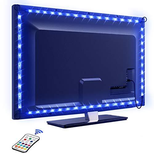 LED TV Retroilluminazione, OMERIL 2.2M Retroilluminazione LED TV con 16 Colori e 4 Modalità, Striscia LED RGB USB alimentata con Telecomando adatto a HDTV da 40-60 Pollici, PC Monitor, Decorativa ecc