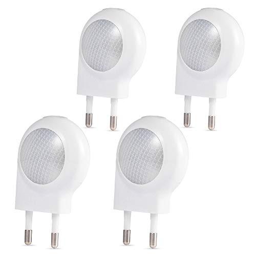LEDGLE 4 Pezzi 0.5w Luce Notturna LED Illumina Solo di Notte, Lampada Wireless da Parete, Bianco