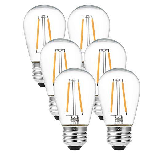 LEDGLE E27 ST45 Lampadina LED Edison vintage super luminosa 2W = 24W Lampada a filamento E27 a filamento bianco caldo 2700K Angolo del fascio di 360 °, 6 pezzi