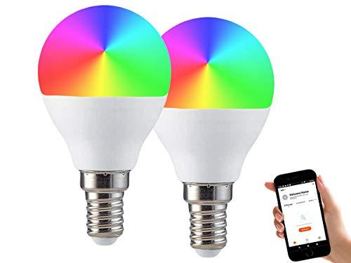 LEDLUX 2 Pezzi Lampade Led Smart Faretto WiFi RGB CCT Dimmerabile APP Compatible Con Amazon Alexa Google Home (E14 P45 4.5W)