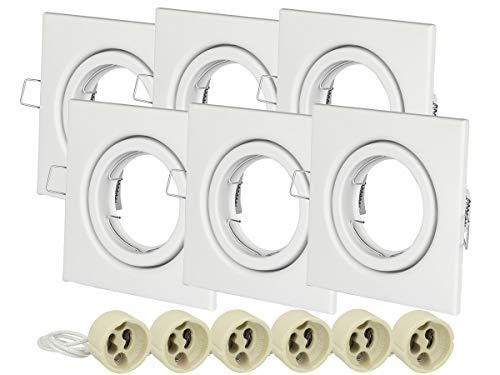 LEDLUX 6 Porta Faretto Led Da Incasso GU10 Con Molla Orientabile Spotlight Fitting (Bianco, Quadrato)
