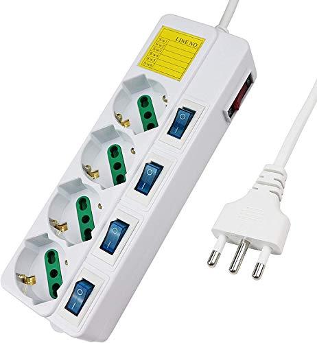 LEDLUX Multipresa Ciabatta Elettrica Con 4 Posti Prese Schuko 10/16A ,5 Interruttori Indipendente,Cavo Da 1,5 Metri,Tabella di Note