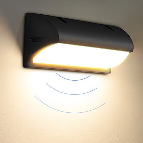 LEDMO 12W Applique da Esterno con Sensore di Movimento, Lampade da Esterno Parete 3000K IP65, Lampade da Parete per Giardino, Cortile, Foyer, Corridoio.