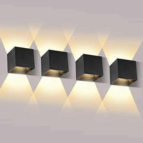LEDMO 12W*4 Lampada da Parete per Interni/Esterno LED Moderno, Applique da Parete Muro in Alluminio Angolo,Lampada Muro su e Giù Regolabile Design IP65 Impermeabile 3000K Bianco Caldo