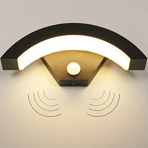 LEDMO 15W Applique da Parete Interno/Esterno Moderno con Sensore di Movimento,Applique da Esterno 3000K IP55, Lampade da Parete per Soggiorno, Scala, Corridoio, Balcone.