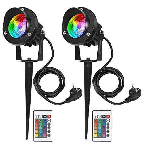 LEDMO 2 PCS RGB Faretto da Giardino 10W Faretti LED da Giardino Impermeabile IP65 Luci per Esterno con Picchetto