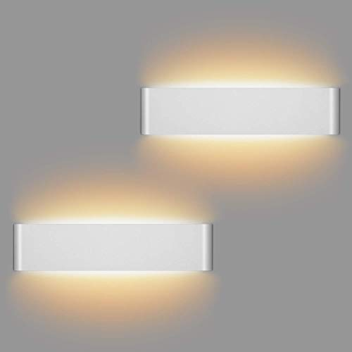 LEDMO 2 Pezzi 12W Lampada da Parete Interno Moderno LED Lampade da Parete Bianco Caldo 3000K Applique da Parete per Perfetto per Soggiorno Corridoio Bagno Le Scale Luce Notturna