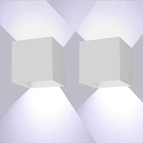 LEDMO Applique da Parete Interno/Esterno 2 Pezzi 12W 6000K IP65 Applique da Esterno,La Lampada da Parete può Regolare l'angolo del Fascio su e Giù