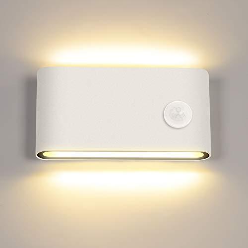 LEDMO Lampada da Parete a LED con Sensore di Movimento per esterni/interni Applique parete Moderna in alluminio Bianco caldo 3000K Luci da Muro impermeabile IP65