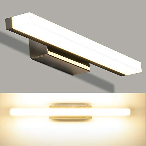 LEDMO Lampada da Specchio 8W 40cm Lampada Specchio Bagno LED 4000k Bianco Neutro 800Lm Luce Specchio Bagno Acciaio Inossidabile IP44 Impermeabile 400 * 45 * 80mm