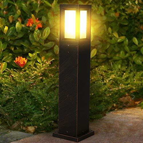 LEDMO Lampione da esterno E27 in alluminio Lampioncini prato LED Palo illuminazione IP65 impermeabile Luce paletto moderno 60cm Lanterne da giardino (Lampadina inclusa)