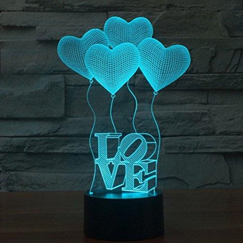 Ledmomo, lampada 3D, utilizzabile come luce notturna, lampada da tavolo, luce d'atmosfera, con decorazione a cuore