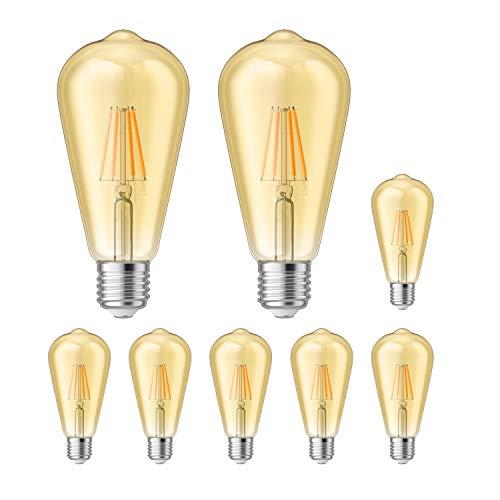 ledscom.de E27 LED Lampadina filamento Vintage Retro dorato ST64 4W=37W extra-bianca calda 410lm A++ per interni ed esterni, 8 PZ