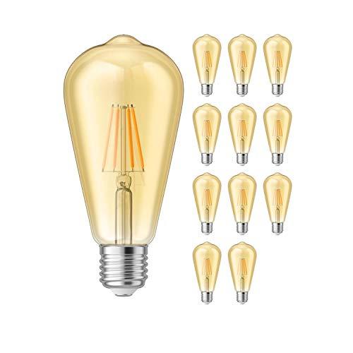 ledscom.de E27 LED Lampadina filamento Vintage Retro dorato ST64 4W=37W extra-bianca calda 410lm A++ per interni ed esterni, 12 PZ