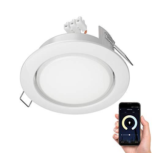 ledscom.de Faretto da incasso Zobe II sottile bianca tondo + smart LED-Lampadina Alexa dimmerabile 420lm temperatura di colore regolabile (2700K - 4100K) 107mm Ø Loch 90mm Ø
