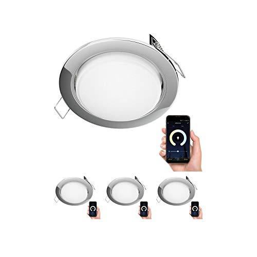 ledscom.de Faretto da incasso Zobe sottile cromo tondo + smart LED-Lampadina Alexa dimmerabile 420lm temperatura di colore regolabile (2700K - 4100K) 107mm Ø Loch 90mm Ø, 4 PZ