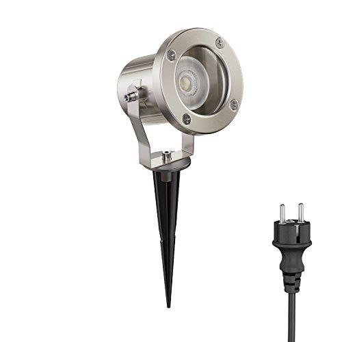 ledscom.de LED Faretto da giardino MIBU con picchetto interrabile da esterno, acciaio inox, incl. GU10 Lampadina 5.8W =60W 450lm 30° bianca calda