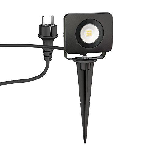 ledscom.de LED Faretto da giardino Wega con picchetto interrabile da esterno, nero, 10W, 800lm, bianca calda