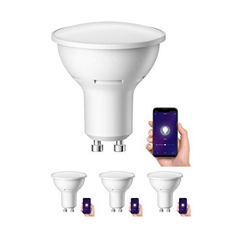 ledscom.de Smart GU10 LED Lampadina per Amazon Alexa & Google Home, dimmerabile 4W =34W 380lm 110° bianca calda, 4 PZ