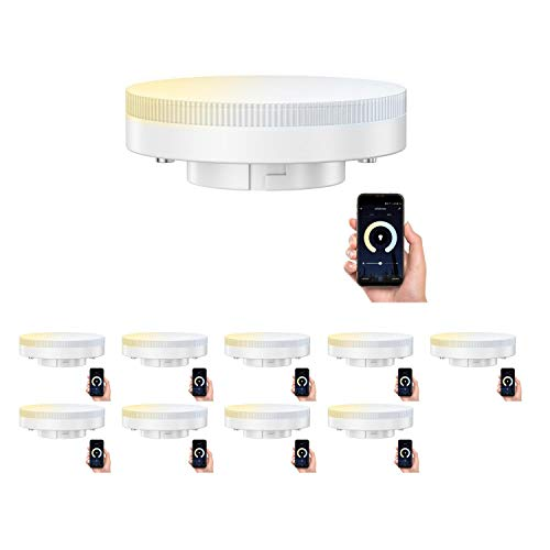 ledscom.de Smart GX53 LED Lampadina per Amazon Alexa, dimmerabile 4,5W=38W 420lm 100° dimmerabile e temperatura di colore regolabile (2700K - 4100K), 10 PZ