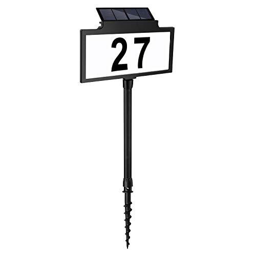 LeiDrail Targhe solari con numero civico Luce per porta a LED con paletto Targhe moderne per indirizzi Targhe con numeri di porta illuminati a luce solare Illuminazione esterna impermeabile