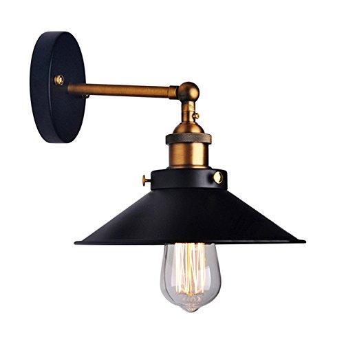 Lemonbest® - Lampada da parete con paralume in metallo nero ombrello, Applique per lampadina Edison E27, diametro 21 cm (lampadina non inclusa), stile: vintage/industriale