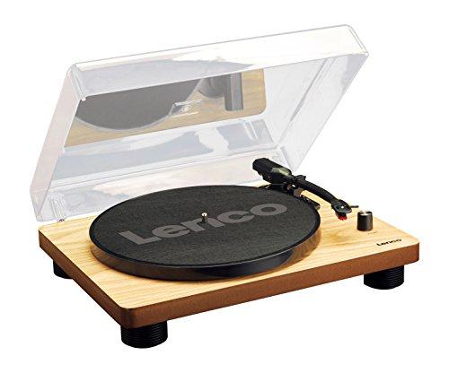 Lenco LS-50 Wood Giradischi in Legno con altoparlanti stereo incorporati, Presa USB, 2 puntine in dotazione, Uscita per impianto stereo